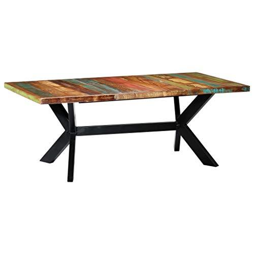 vidaXL Mesa de Comedor Madera Maciza Reciclada Mobiliario Hogar Práctica Funcional Muebles Interiores Diseño Clásico Elegante Duradera 200x100x75cm