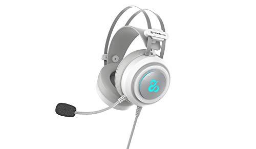 Newskill Drakain Ivory - Auriculares Gaming Estéreo RGB Multiplataforma con Micrófono Flexible y Ajustable- Color Blanco