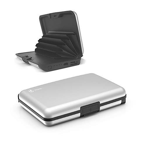 Tarjetero para Tarjetas de Crédito, 2 en 1 RFID Blocking Wallet Aluminio con Power Bank 2000mAh, Plateado