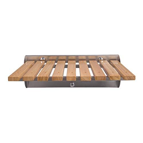 Holz Dusche-Sitz Wand befestigter Klapp, 300 lbs Gewicht Kapazität Holz und Edelstahl Hocker, Klappsitz Bad für Erwachsene, ältere Menschen hält,a,L