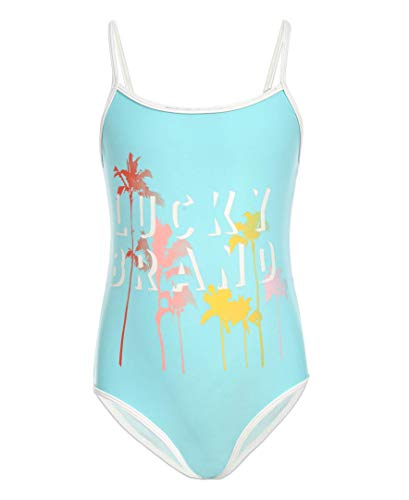 Lucky Brand Girls One-Piece Swimsuit, Brealle Blue Tint, Large (12/14)