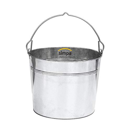 20L 20 Litre Heavy Duty Galvanised Metal Bucket Pail with Handle (Single Bucket) Suitable for Indoor or Outdoor Use.
