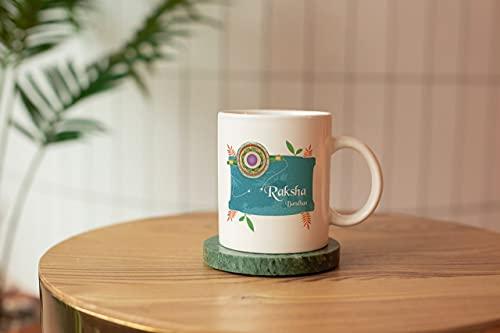 BM Sales Mug of Happy raksha bandan Text Design Written on Mug Design capacity-325ml and Size(Hight-9.6 and length-11)