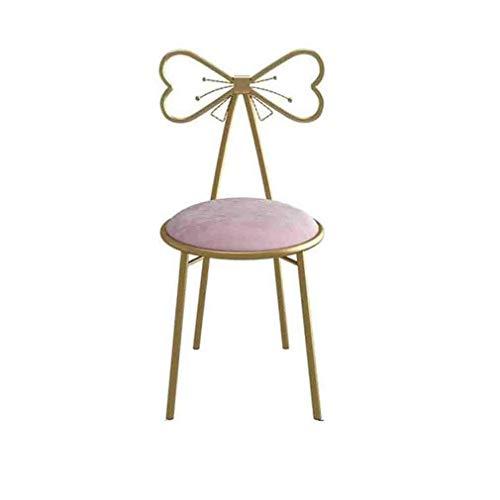 N/Z Living Equipment Gaming Stuhl Computerstühle Vanity Schminktisch Hocker Schmiedeeisen Rückenlehne Stuhl Make-up Schlafzimmer Esszimmer Konferenzsaal Pink/Weiß (Farbe: B)
