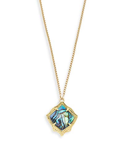 Kendra Scott Kacey Adjustable Length Pendant Necklace for Women, Fashion Jewelry, 14k Gold-Plated, Abalone Shell