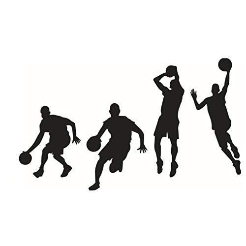 Adesivo de parede LIOOBO Slam Dunk Silhouette Jogadores de basquete, decoração de casa, arte de parede, decoração de quarto, decoração de quarto, 1 peça