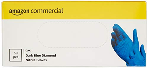 AmazonCommercial Powder Free Disposable Nitrile Gloves, 9 mil, Dark Blue, Diamond Textured, 290mm Size XL, 50 per Pack
