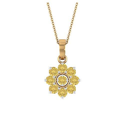 Rosec Jewels 18 quilates oro blanco redonda Yellow Citrine
