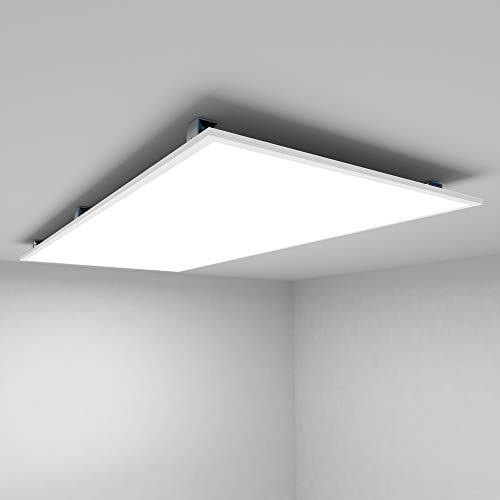 Allesin LED Panel Deckenlampe 120x60 Leuchten LED Deckenleuchte-Panel, Warmweiß/72W/5000lm/3000K/Silberahmen Wandleuchte mit Trafo [Energieklasse A+]