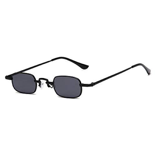 YOULIER Gafas de sol Retro Hombres y Mujeres Tendencia Pequeña Plaza Gafas de sol Transparente Lente de Océano Lateral Estrecho Gafas de sol Marco Negro