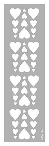Marabu sjabloon, lasergesneden, duurzame sjabloon, PVC-vrij, voor gebruik op muren, meubels en textiel, herbruikbaar, ca. 10 x 33 cm. Heart Patroon. Heart Patroon.