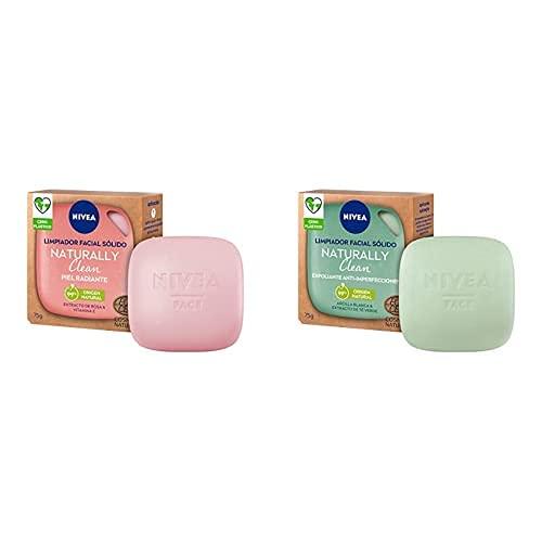 NIVEA Naturally Clean Limpiador Facial Sólido Piel Radiante 1 x 75 g y Clean Exfoliante Facial Sólido Anti-imperfecciones1 x 75 g