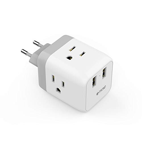 European Plug Adapter, TROND International Travel Power Adaptor for Europe Outlets, 2 USB & 3 American Sockets - US to EU Italy Germany France Iceland Spain Greece (Type C Plug)