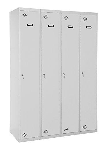 Taquilla profesional montada 4 cuerpos 1 puerta cada uno Gris/Gris Simonrack 1800x1200x500 mms - Taquilla metálica - Taquilla para gimnasio - Taquilla de vestuario - Se entrega montado
