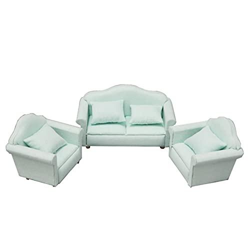 Yiifunglong Casa de muñecas 3 unids/set 1/12 muñeca casa tela doble sofá silla micro sala decoración
