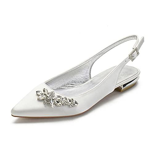 Sandalias Planos para Mujer Puntiagudos Diamante de satén Planos Ballerina Elegante Zapatos...