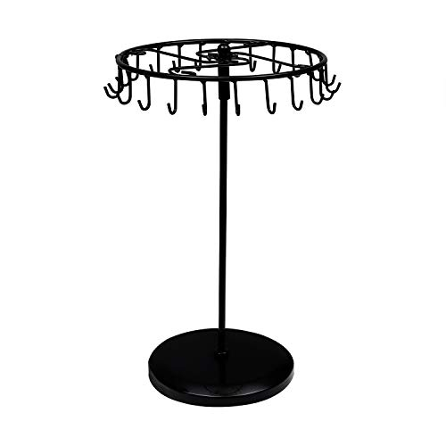 BELLE VOUS Jewellery Stand - 23 Hooks (33 x 20.5cm) Black Rotating Necklace Holder - Jewellery Organizer - Display Holder for Pendant, Bracelet, Earrings, Rings and Watches