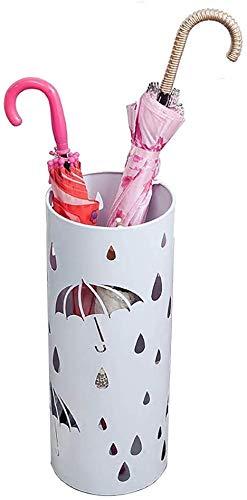 Eenvoudige emmer voor paraplu's gesneden in wit metaal met haken, ondersteuning voor parasol lange Scandinavische korte eenvoudige van buiten voor Hotel Office Entrance, 20 × 50 Cm