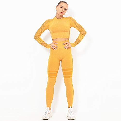 JXILY Conjunto Yoga 2 Piezas Ropa Traje de Ropa de Yoga Pantalones de Yoga Súper Elásticos Sin Costuras Fitness Mallas de Deporte de Mujer,Amarillo,L