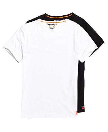 Superdry T-Shirt Doppelpack Herren SDRY LNDRY Slim Tee Double PAC Laundry White Laundry Black, Größe:XXL