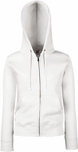 Fruit Of The Loom Lady-Fit Damen Kapuzenjacke / Sweatshirt-Jacke mit Kapuze S,Weiß - Weiß