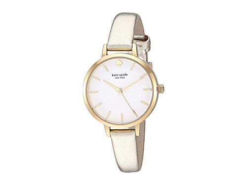 Kate Spade New York Leather Metro Watch - KSW9008 Gold One Size