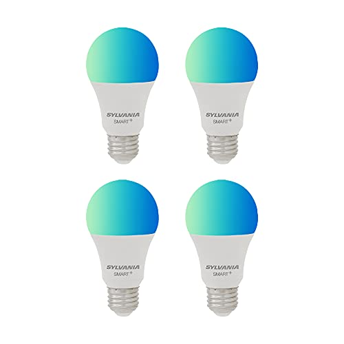 SYLVANIA Smart+ Wi-Fi Full Color Dimmable A19 LED Light Bulb, CRI 90+, 60W Equivalent, Compatible with Alexa and Google Assistant, 4 Pack