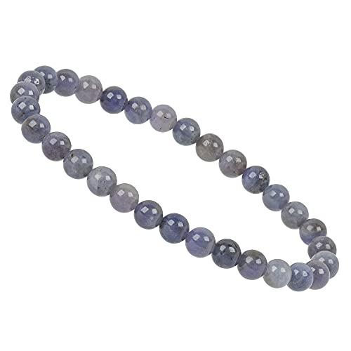 ELEDORO PowerBead - Pulsera con piedras preciosas de 6 mm, tanzanita