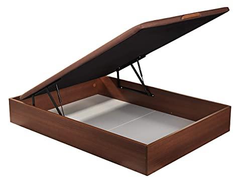 ROYAL SLEEP Canapé Abatible (135x190) de Gran Capacidad, Tapa 3D Transpirable, Color Cerezo Montaje y Retirada de Usado Incluido