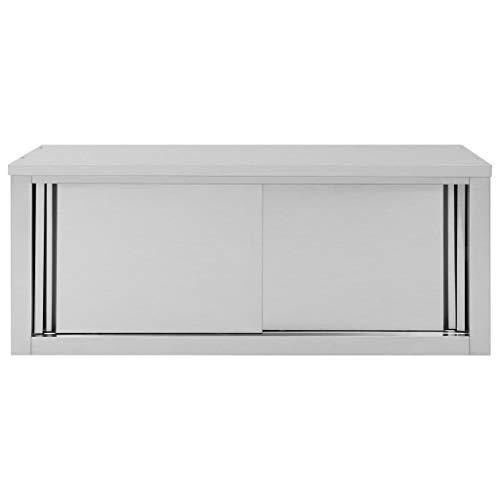 pedkit Küchen Wandhängeschrank aus Edelstahl mit auf Rollen gelagerte Schiebetüren, Hängeschrank mit fest verbautem Einlegeboden - 120 x 40 x 50 cm