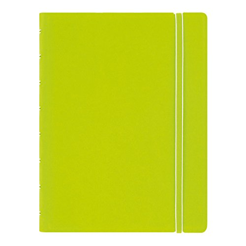 FILOFAX REFILLABLE NOTEBOOK CLASSIC, A5 (8.25' x 5') Pear - Elegant leather-look cover with moveable pages - Elastic closure, index, pocket and page marker (B115013U)
