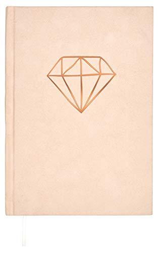 Samt Notizbuch Diamant | 256 Seiten mit Punktraster | Tagebuch in DIN A5 | Rosé