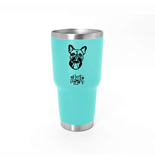 French Bulldog Gift Dog Mom Tumbler - 30oz - With Stainless Steel Straw And Sealed Lid - Teal - A Birthday Gift For French Bulldog Dog Lovers