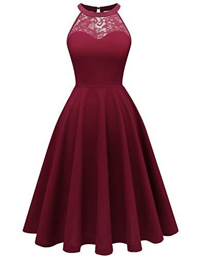 Bbonlinedress Damen Cocktailkleidkleid Abendkleider Rockabilly Retro Vintage Neckholder Claret M