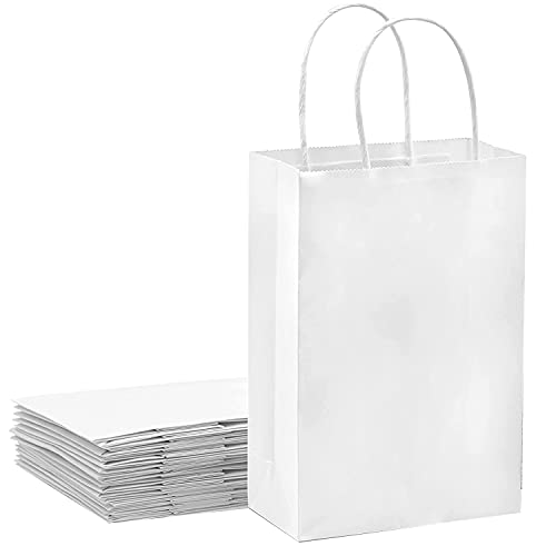 15 piezas Bolsas Papel 21 * 15 * 8CM,White de Papel Negro,Bolsas de Papel con Asas,Bolsas Papel Kraft,Bolsas Regalo(Espesar 130gsm) (White)