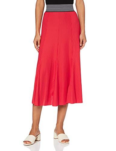 Marque Amazon - find. Jupe Mi-Longue Plissée en Jersey Femme, Rouge (Red), 40, Label: M