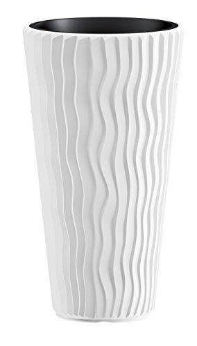 XXL Pflanztopf der in moderner Wellen Optik mit herausnehmbaren Einsatz. Aus robustem Kunststoff in Weiß. Maße Ø x H in cm: 39 x 71 cm