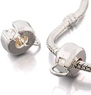Andante-Stones 925 Argento Perlina Clip Stopper con Anello per Dangle Beads Elemento Pallina per European Beads + Sacchett...