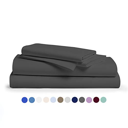 Comfy Sheets 100% Egyptian Cotton Sheets- 1000 Thread Count 4 Pc Queen Sheets Cotton Dark Grey Bed Sheet with Pillowcases, Hotel Quality Fits Mattress Up to 18'' Deep Pocket.