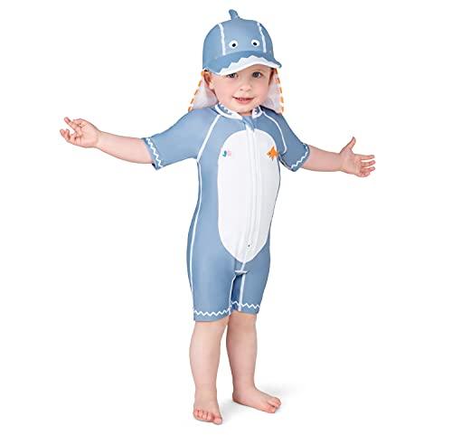 Juicy Bumbles Bañador Bebe Niño - Traje de Baño con Protección Solar Anti UV de Una Pieza para Bebés y Niños Pequeños - Traje de Mangas Cortas UPF50 + Tiburón 1-2 Años