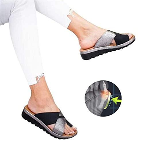 Damskie Płaskie buty Koturny Sandały na platformie Skóra PU Sandały ortopedyczne Wygodne odkryte palce Buty do podróży na plażę Masaż pięt Miękkie dno Antypoślizgowy Sandał korekcyjny z dużym palcem,