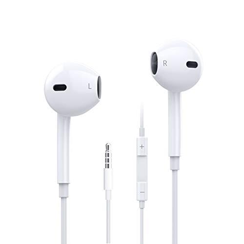 WYH Música Auriculares Auriculares en audífono con micrófono y audífonos de Control de Volumen compatibles con Reproductores de PC MP3 Smartphones (Blanco) Resistente al Sudor
