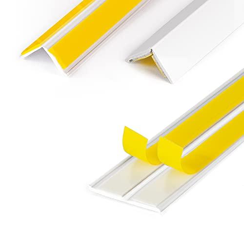 DQ-PP WINKELLEISTE | 10m Länge | 15x15mm | 1,5mm Stärke | Weiss | Fensterleisten Knickwinkel Eckleiste Abschlussleisten selbstklebend