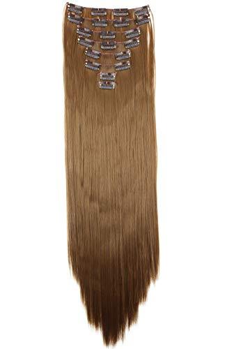 PRETTYSHOP XXL 8 pièces SET tête entière Clipser dans les extensions Extension de cheveux postiche résistant à la chaleur lisse 60 cm brun moyen # 6 CES3