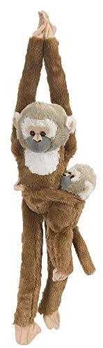 Wild Republic 15264 - Plüschtier - Hanging Monkey - Totenkopfäffchen, Mama mit Baby, 51 cm