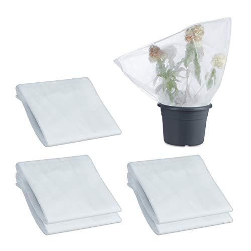 Relaxdays 6 x Wintervlies, Schutz für Bäume, Sträucher & Pflanzen, mit Kordel, aus Polypropylen, Gartenvlies, 80 x 120 cm, Weiß