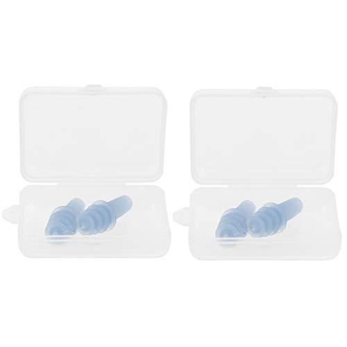 Harilla 2 Pares de Tapones para Los Oídos de Silicona Suave Tapones para Los Oídos Flexibles Que Bloquean El Ruido para Volar - Azul