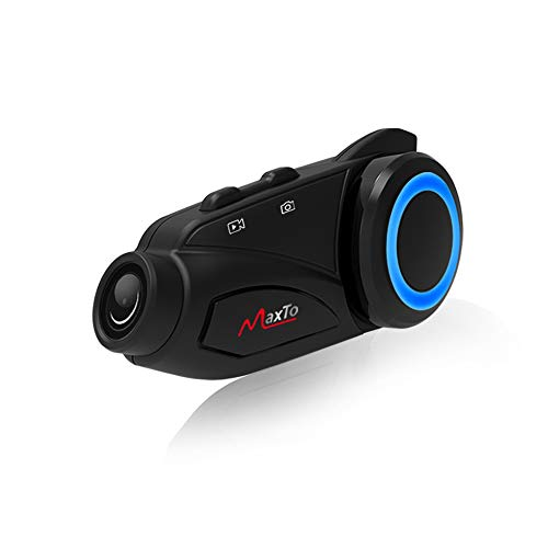 Motorcycle Bluetooth Headset Group& WiFi Recorder,Maxto M3 Can be Connected to Other Helmet intercom Communication Systems Up to 6 Riders Wireless 1000M Entertainment with FM (M3-Hard Mic 1PACK)