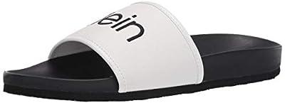 Calvin Klein Men's Pike Slide Sandal, White, 13 M