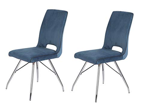Meubletmoi – Juego de 2 sillas de terciopelo azul marino y patas de acero cromado – Comodidad y calidad – Diseño contemporáneo vintage – Bella